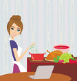 housewife looking in laptop during cooking soup at vector image