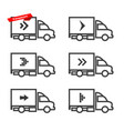 Icon set moving truck van with arrow icons