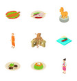 indonesian life icons set isometric style vector image vector image