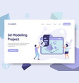 landing page template of 3d printing modeling vector image