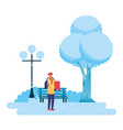 man with gift park winter scenery vector image