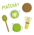 Matcha tea set Isolated object vector image vector image
