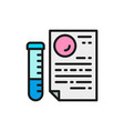medical glass tube with document paternity test vector image vector image
