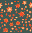 print with stylized flowers and stars vector image