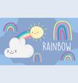 rainbows sun clouds cartoon decoration blue sky vector image vector image