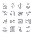 real estate set of outline icons includes vector image vector image