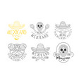set 6 mexican logos for traditional restaurants vector image vector image