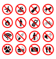 Set ban icons Prohibited symbols red signs vector image vector image