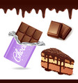 set of chocolate desserts chocolate bar cake vector image