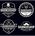 set vintage barbershop labels templates vector image