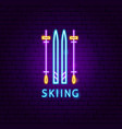 skiing neon label vector image vector image