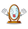 tongue out big dressing mirror isolated on mascot vector image