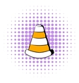 Traffic cone icon comics style vector image vector image