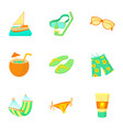 travel to sea icons set cartoon style vector image vector image