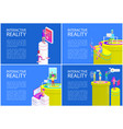 virtual reality posters set vector image vector image
