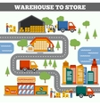 Warehouse To Store Concept vector image vector image