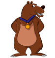 bear cartoon smiling with medal vector image
