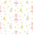pajamas pattern with tilda bunny bear plush toy vector image