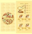pizza menu card set of cute various pizza vector image