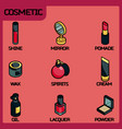 cosmetic color outline isometric icons vector image
