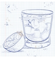 Alcoholic Cocktail Godmother on a notebook page vector image vector image