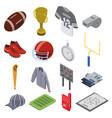 american football equipment icons set isometric vector image