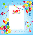 balloons happy birthday card template vector image vector image