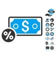Banknote Percent Flat Icon With Tools Bonus vector image