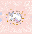beautiful floral card with cartoon fox or cat in vector image vector image