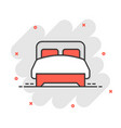 bed icon in comic style bedroom cartoon sign vector image vector image
