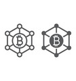 bitcoin network line and glyph icon money vector image vector image