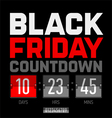 Black Friday countdown timer vector image vector image