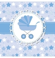 BLUE baby carriage for newborn boy vector image vector image