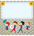 border template with kids in the band vector image vector image