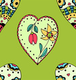 Bright Green Floral Love Heart Patterned vector image