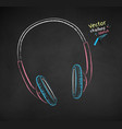 chalk drawn headphones vector image