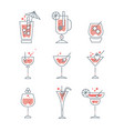 collection of line alcoholic cocktails and vector image vector image