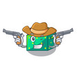 cowboy character wooden box of kids toys vector image vector image