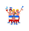 croatians with croatia flag symbol vector image