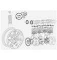 engine and car wheel on a white background vector image vector image
