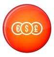 Euro dollar pound coin icon flat style vector image