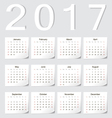 European 2017 calendar with shadow angles vector image vector image
