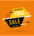 final sale banner up to 70 off vector image vector image