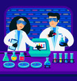 genome sequencing concept scientists working in vector image