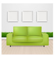 green sofa bed with and picture frame vector image vector image