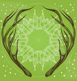 Hand drawn deer antlers with decorative floral