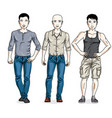 happy men posing wearing casual clothes people vector image vector image
