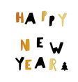 Happy New Year Gold and black letters Holiday vector image vector image