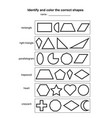 identify and color the correct shapes educational vector image vector image