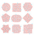 labyrinth brain games set vector image vector image